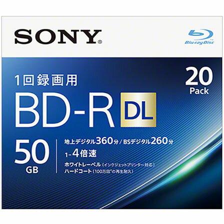 ソニー 20BNR2VJPS4 録画・録音用 BD-R DL 50GB 一回(追記)録画 プリンタブル 4倍速 20枚
