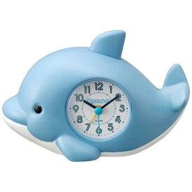 リズム時計 4SE553SR04(青) クオーツ目覚まし時計 起きてイルカ?SR
