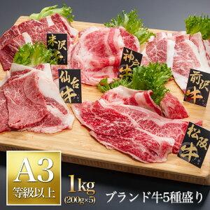 牛肉 ブランド牛 5種 食べ比べ 1kg 松阪牛・神戸牛・米沢牛・前沢牛・仙台牛/すき焼き しゃぶしゃぶ 焼肉 ギフト 送料無料