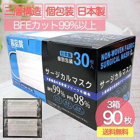 <ポイント10倍>日本製 マスク 3箱90枚入 個包装 送料無料 翌日発送/国産 三層 不織布 サージカルマスク 使い捨て日本製マスク BFE99%・PFE98%