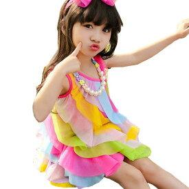 d34a8c3929526 新作 韓国子供服 子供服 夏着 レインボー 袖なしワンピース ガータースカート 可愛いスタイル 韓国風 女の子 ビーチスカート ワンピース 女の子  ノースリーブ ドレス ...