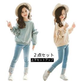 韓国子供服 春着 学園風 可愛い 女の子 お洒落 シャツ ジーンズ 2点セット 子供 Tシャツ ジーンズ 上下 セットアップ デニム 2点セット 子供セット おしゃれ トップス パンツ 上下セット Tシャツ ダンス衣装 演出 普段着
