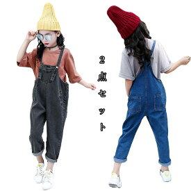6eaf32cec14 韓国ファッション トップス+オールインワン シャツ+ズボン 子供服 キッズ服 上下セット ジュニアボトムス