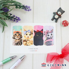 【メール便対応可】ポストカード『SYARENEKO×RIBBON』猫/ねこ/ハガキ/絵葉書/メッセージ/文房具/ステーショナリー/かわいい/おもしろ/りぼん/写真/ギフト/贈り物/動物/とことこサーカス/てまりのおうち/