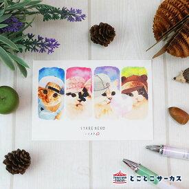 【メール便対応可】ポストカード『SYARENEKO×CAP』猫/ねこ/ハガキ/絵葉書/メッセージ/文房具/ステーショナリー/かわいい/おもしろ/帽子/写真/ギフト/贈り物/動物/とことこサーカス/てまりのおうち/