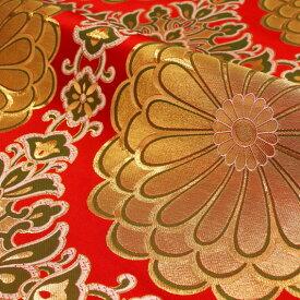 京都西陣織・金襴 生地 二釜菊丸(赤) 生地巾70cm×長さ34cm単位 切り売り パネル柄 布地 はぎれ 和柄 生地 ファブリックパネル きんらん