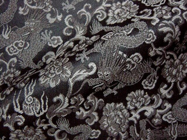 ◆京西陣・金襴 生地 龍(黒) 10cm単位 切り売り 【手芸同好会-sa】