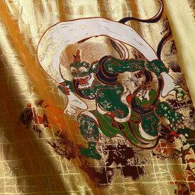 京都西陣織・金襴 生地 風神雷神 大 和柄生地 生地巾38cm×長さ75cm単位 切り売り パネル柄 布地 はぎれ よさこい きんらん 金らん