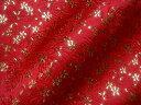 京西陣・金襴 生地 赤地菊地文に小櫻(金箔) (和布 和生地 和柄生地 和柄 和風)05P01Oct16