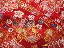 京西陣・金襴 生地 華文に流水のし文(赤) (花柄 和布 和柄生地 和柄 和風 よさこい 衣装 布 手芸 インテリア 祭り)05P01Oct16