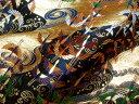 京西陣・金襴 生地 渦巻きに飛鶴文(黒) (和布 和生地 和柄生地 和柄 和風)05P01Oct16