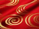 京都西陣織・金襴 生地 観世水(赤・金) 10cm単位 切り売り 布地 はぎれ 和柄 生地 よさこい きんらん 金らん