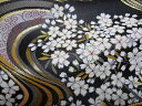 京都西陣織・金襴 生地 流水に桜 大(黒)金襴織物 10cm単位 切り売り 布地 はぎれ 和柄 生地 よさこい きんらん 金ら…