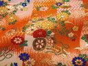 京西陣・金襴 生地 檜垣格子地文花車(橙) (花柄 和布 和柄生地 和柄 和風 よさこい 衣装 布 手芸 インテリア 祭り)05P01Oct16