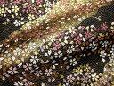 京西陣・金襴 生地 波文に流水小桜(黒) (花柄 和布 和柄生地 和柄 和風 よさこい 衣装 布 手芸 インテリア 祭り)05P01Oct16