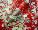 京・金彩友禅 地紙文花づくし(赤) (着物生地 和 和柄生地 和柄 和風 はぎれ 手芸 布 インテリア)05P01Oct16