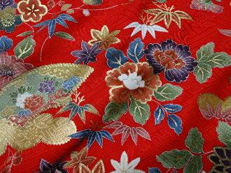 资本和丝金西贡友禅金云带模具模式 (红色) (日本日本图案面料日本模式日本面料工艺品布内饰和服学生) 05P23Aug15