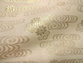 正絹 紗 箔入 糊付 観世水文 (白) 10cm単位 切り売り シルク 布 和柄 生地 はぎれ 通販 和柄生地 和風 布地
