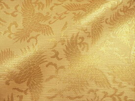 正絹 紗 箔入 糊付 鳳凰 (桑染め)10cm単位 切り売り シルク 布 和柄 生地 はぎれ 通販 和柄生地 和風 布地