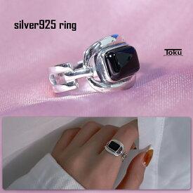 シルバー925 オープンリング リング 指輪 レディース メンズ 印台 銀 ファッションリング 重ね付け フリーサイズ シンプル