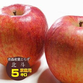 送料無料 葉とらず 北斗【家庭用】約5kg(14〜18個) ※青森産、直送、りんご、リンゴ、林檎