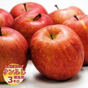 送料無料 葉とらず サンふじ 【贈答用】約3kg(10個前後) ※青森産、直送、りんご、リンゴ、林檎、サンふじ