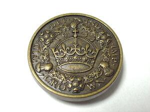 簡単取付け ネジ式飾りカシメ ヨーロッパの金貨モチーフ コイン 5mm足 アンティークゴールド 1個入 革小物などの留め具に最適