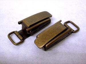 2個セット 金属 高級サスペンダー 約10mm巾ベルト用 アンティークゴールド