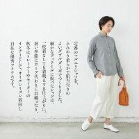 [丸襟ブラウスシャツ長袖]コットン100%ダブルガーゼマルエリシャツ/日本製メール便可40代50代60代女性ファッション綿100羽織り千鳥柄千鳥格子無地白シャツ
