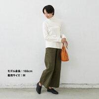 [タートルネックカットソー長袖レディース]ふわふわコットンタートルネックプルオーバー/日本製メール便可40代50代60代女性ファッションコットン100%綿100インナー