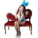 【大きいサイズ】バニーガール衣装 大きいサイズ 9点セット【ブルー】プレーン バニー衣装