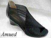 ShellShoesAmued5280レディースオープントゥカジュアルシューズストレッチ素材メッシュ5.5cmヒール