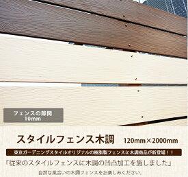 【目隠しフェンス】商品名:スタイルフェンス木調 L2000 (単品部材)横張り【人工木フェンス 樹脂フェンス フェンス横張り DIYフェンス】