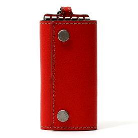 キーケース メンズ 本革 レディース レザー レッド ワイン 赤色 キーホルダー スナップボタン かわいい オシャレ キーケース プレゼント 贈り物 ボーデッサン