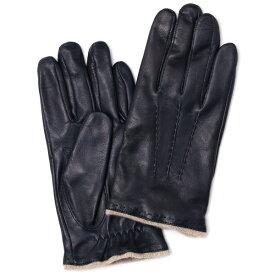 手袋 メンズ 本革 カシミヤ混 カシミア混 イタリア製 ブルー ネイビー 青色 レザー グローブ 羊革(ラムスキン) KURODA(クロダ)