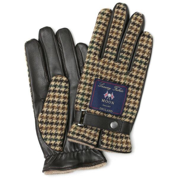 英国で1837年創業の老舗生地メーカー、MOON(ムーン)社のツイード生地を使用した本革手袋 ブラウン 茶 茶色 メンズ 羊革(ラムスキン) グローブ タッチパネル対応 スマホ対応 スマートフォン対応 操作 可能 KURODA(クロダ)