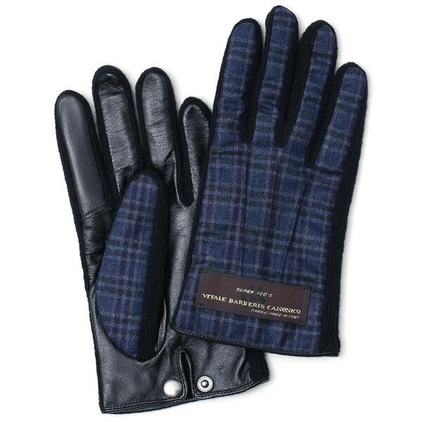 KURODA(クロダ) 日本製/スマホ対応/本革手袋 イタリアの名門「カノニコ社」ウール使用 ブルー ネイビー 青色 メンズ レザー グローブ タッチパネル対応 スマホ対応 スマートフォン対応 羊革(ラムスキン) KURODA(クロダ)