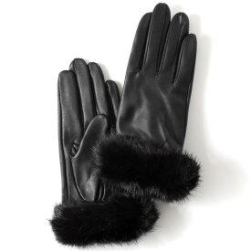 【ブランド化粧箱付き】 KURODA(クロダ) ファー付き 革手袋 ブランド レザー 本革 レディース スマホ対応 ブラック 黒 黒色 暖かい かわいい 高級 おしゃれ 大人 女性 プレゼント クリスマス 誕生日 ギフト 羊革 ラムスキン 皮 てぶくろ