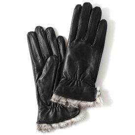 KURODA(クロダ) レディース 本革 レザー 手袋 スマホ対応 ラビットファー ブラック 黒 黒色 暖かい シンプル 無地 かわいい 高級 おしゃれ 大人 女性 プレゼント クリスマス 誕生日 ギフト 羊革 ラムスキン 皮 てぶくろ