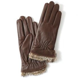KURODA(クロダ) レディース 本革 レザー 手袋 スマホ対応 ラビットファー ブラウン 茶 茶色 暖かい シンプル 無地 かわいい 高級 おしゃれ 大人 女性 プレゼント クリスマス 誕生日 ギフト 羊革 ラムスキン 皮 てぶくろ