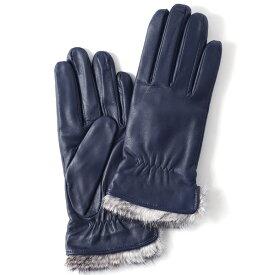 KURODA(クロダ) レディース 本革 レザー 手袋 スマホ対応 ラビットファー ブルー ネイビー 青色 暖かい シンプル 無地 かわいい 高級 おしゃれ 大人 女性 プレゼント クリスマス 誕生日 ギフト 羊革 ラムスキン 皮 てぶくろ