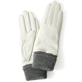 日本製 手袋 レディース ブランド カシミア 100% レザー グローブ ニットリブ 防寒 カシミヤ ホワイト 白色 イタリーラム 上質 羊革 皮 女性 上品 婦人 プレゼント 化粧箱付き 国産 KURODA(クロダ)