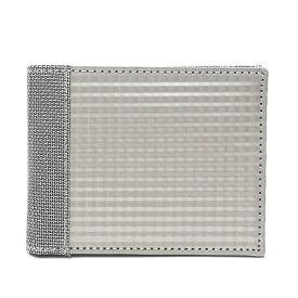 二つ折り財布 メンズ スキミング防止 小銭入れなし おしゃれ シルバー 銀色 スチュワート・スタンド(STEWART/STAND)