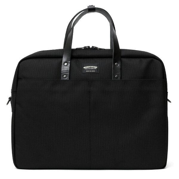 ビジネスバッグ メンズ ブリーフケース ブラック 黒 黒色 本革 日本製 ブランド レザー ショルダーベルト バリスティックナイロン 鞄 カバン ワンダーバゲージ(WONDER BAGGAGE)