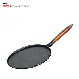 [日本正規品]ストウブ staub クレープパン 木柄 28cm ブラック