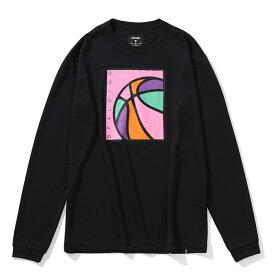 スポルディング SPALDING バスケットボール tシャツ 長袖 ロングスリーブTシャツ ネオンボール メンズ レディース SMT201330 ブラック×ピンク