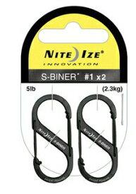 【ポイント2倍】 NITEIZE ナイトアイズ S-biner #1ブラック 2個パック 大人気ダブルフック・カラビナキーホルダー