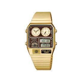 シチズン 腕時計 CITIZEN ANA-DIGI TEMP アナデジ テンプ RECORD LABEL レコードレーベル 復刻モデル JG2103-72X ゴールド デジタルウォッチ アナログウォッチ 時計 クォーツ クロノグラフ アラーム 温度計 カレンダー