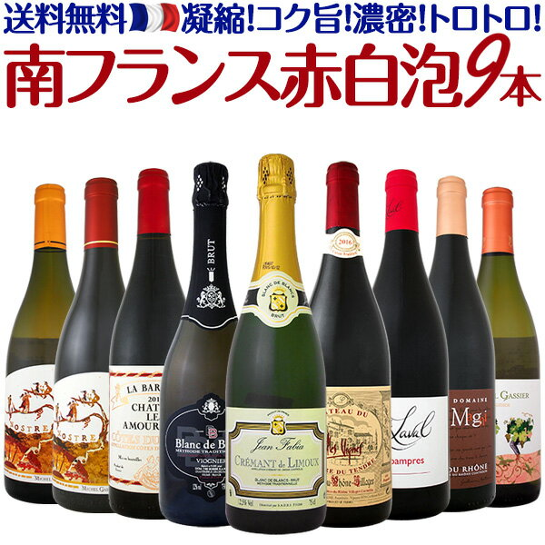 【送料無料】凝縮!コク旨!濃密!トロトロ!全て南フランスワイン赤白泡9本セット!