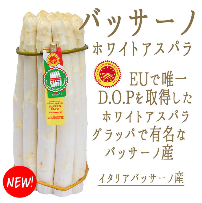 ホワイトアスパラ バッサーノ DOP アスパラ 白アスパラ<イタリアバッサーノ産> 【約1kg-1.3kg】【\480/100g再計算】【冷蔵品】